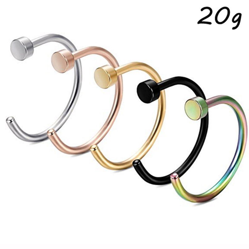 Showlove 5Pcs Titanium Anodized Surgical Steel Nose Lip Open Hoop Rings Piercing For Nostril Nose Studs Body Jewelry 18g&20g