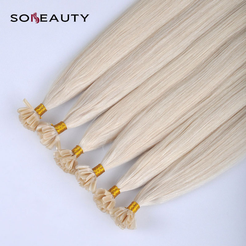 Sobeauty U Tip Hair Extensions Color #60 Light Blonde 0.8 Per Strand 40g 100% Remy  Hair Extensions Pre Bonded Hair Extensions