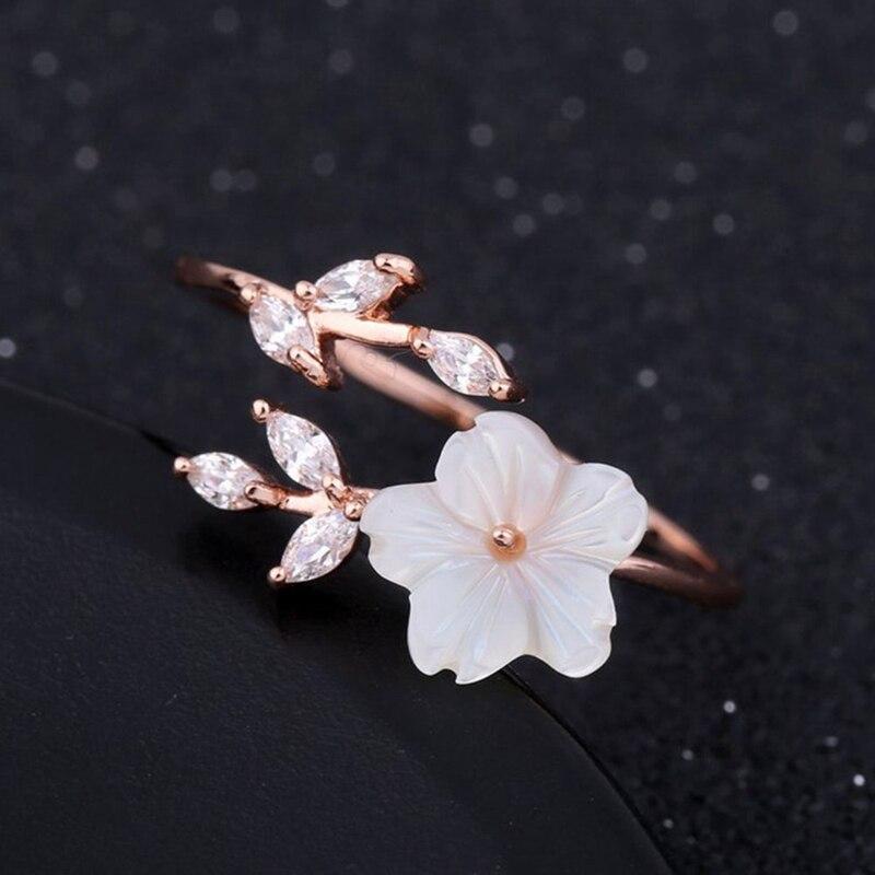 Zircon Crystal Leaf Shell Flower Ring For Women Ladies Girls Rose Gold Color Finger Bague