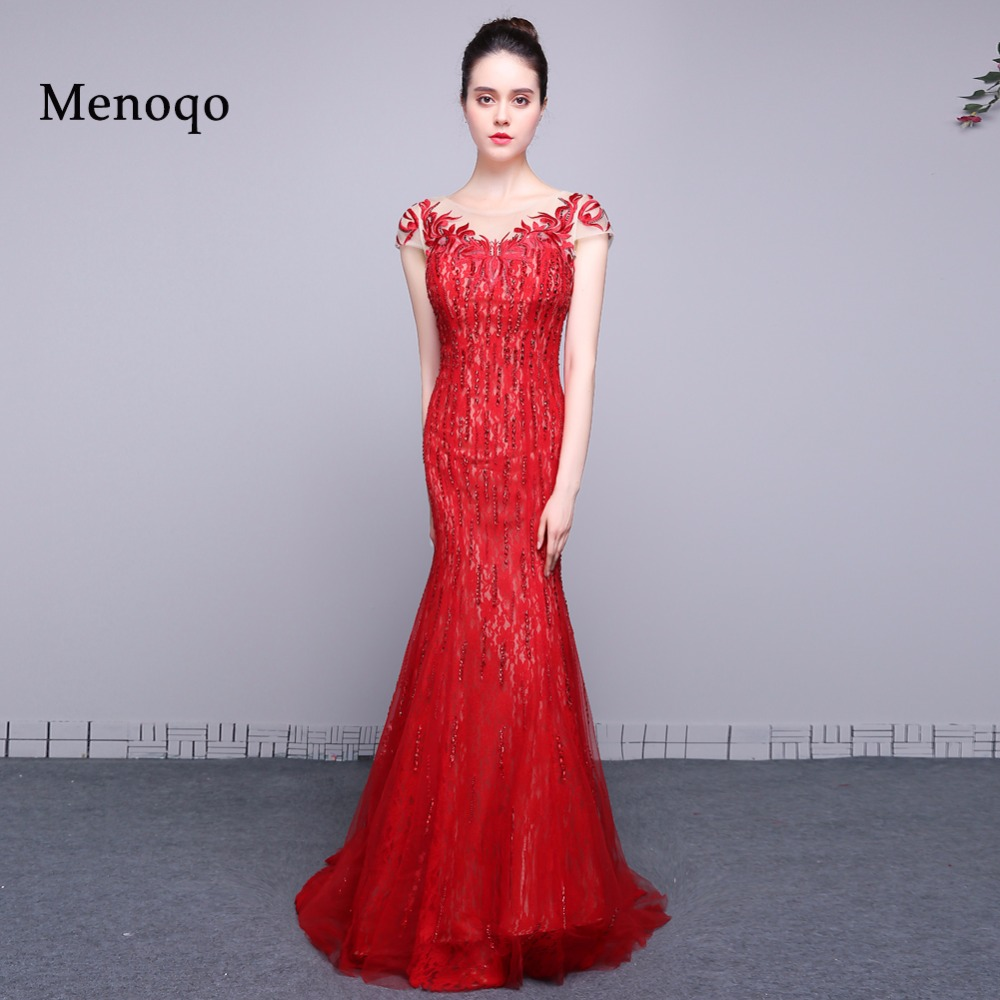 Designer Prom Dresses: Red Floor Length Cap Sleeve Evening Dresses 2019 Original
