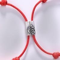 S925 sterling silver red rope bracelet couple men and women braided rope bracelet romantic love bracelet