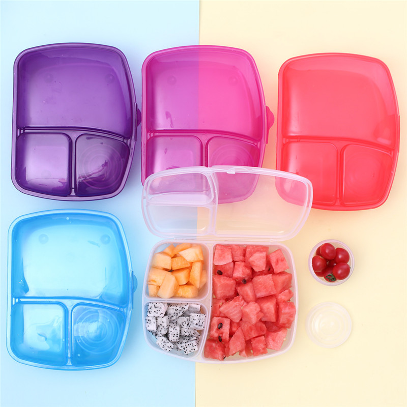 Portable 3 Grids Fruit Sealed Lunch Boxes Home Kitchen Supplies Colorful Storage Box Outdoor Camping Plastic Lunch Box