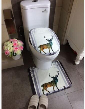 European <font><b>deer</b></font> <font><b>bathroom</b></font> toilet <font><b>mats</b></font> u-shaped rug <font><b>bathroom</b></font> carpet water absorbent <font><b>mats</b></font> machine washable image