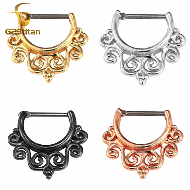 G23titan Nose Piercing Rings 16G Titanium Pole Nose Ring Clip Beautiful Septum Clips Ear Daith Nose Earrings Nariz Body Jewelry in Body Jewelry from Jewelry Accessories