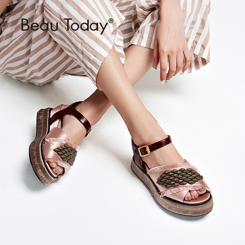BeauToday Women Summer Sandals Satin Cloth String Bead Buckle Strap High Heel Top Brand Ladies Wedges