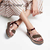 BeauToday Women Summer Sandals Satin Cloth String Bead Buckle Strap High Heel Top Brand Ladies Wedges Handmade 32063