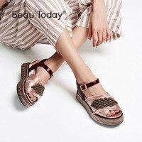 BeauToday Women Summer Sandals Satin Cloth String Bead Buckle Strap High Heel Top Brand Ladies Wedges Handmade 32063