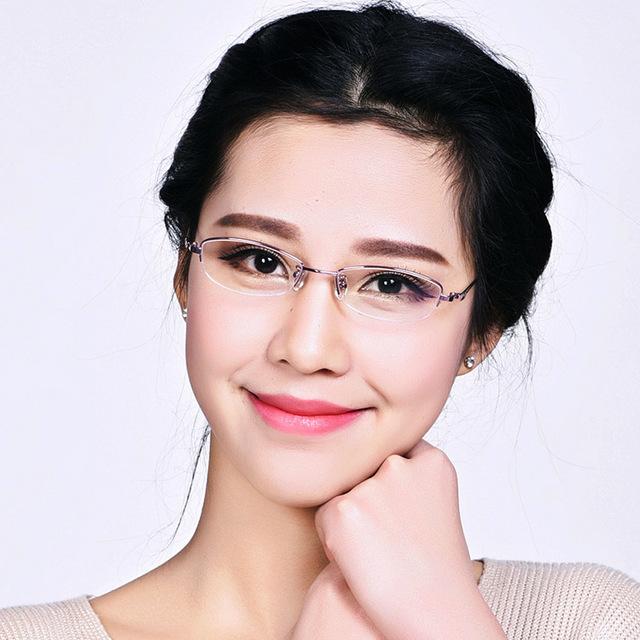 2015 nova Mulheres peso leve 8g de memória armações de óculos olho de titânio Puro óculos de miopia óculos de metal Elegante frete grátis