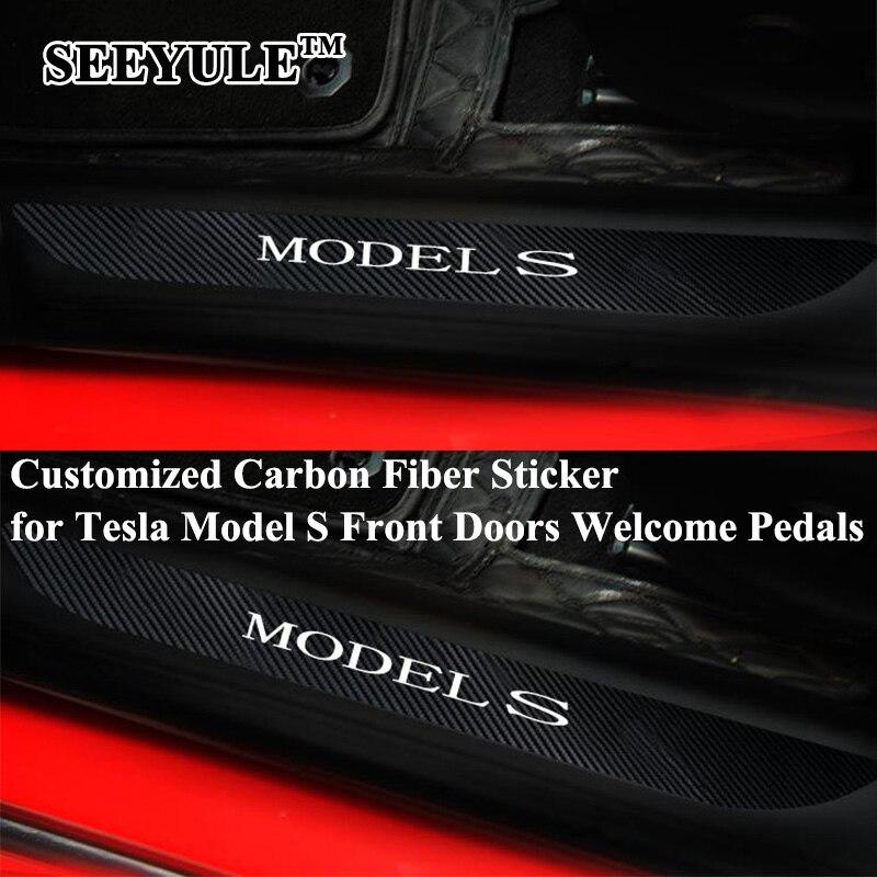 2 pcs/ensemble SEEYULE Fiber De Carbone Sur Mesure Avant De la Voiture Portes Seuil Bienvenue Pédale Autocollant Couverture Protéger pour Tesla Model S Decal