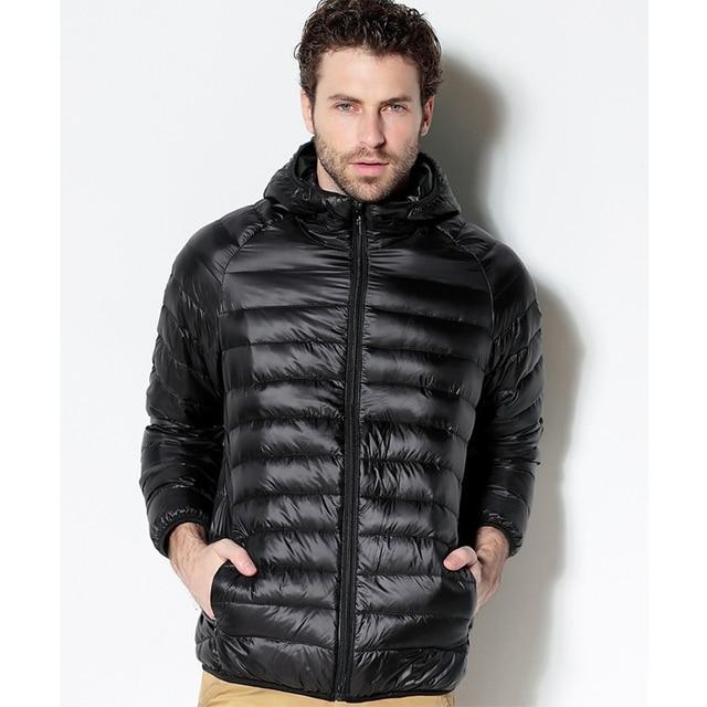 Men White Duck Down Jacket 2020 New Portable Hooded Down Coat Ultralight Men Winter Coat Warm Thermal Down Parkas 2