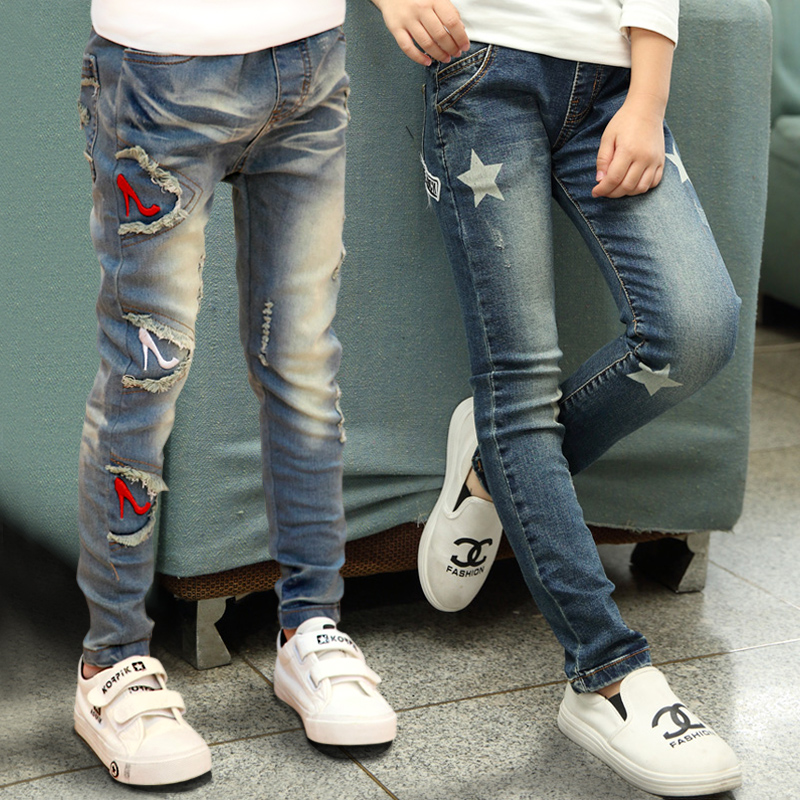 Children's clothing 2018 spring and autumn children's pants girls casual skinny jeans 2017 spring elastic frayed skinny jeans women classic high rise with rips two colors