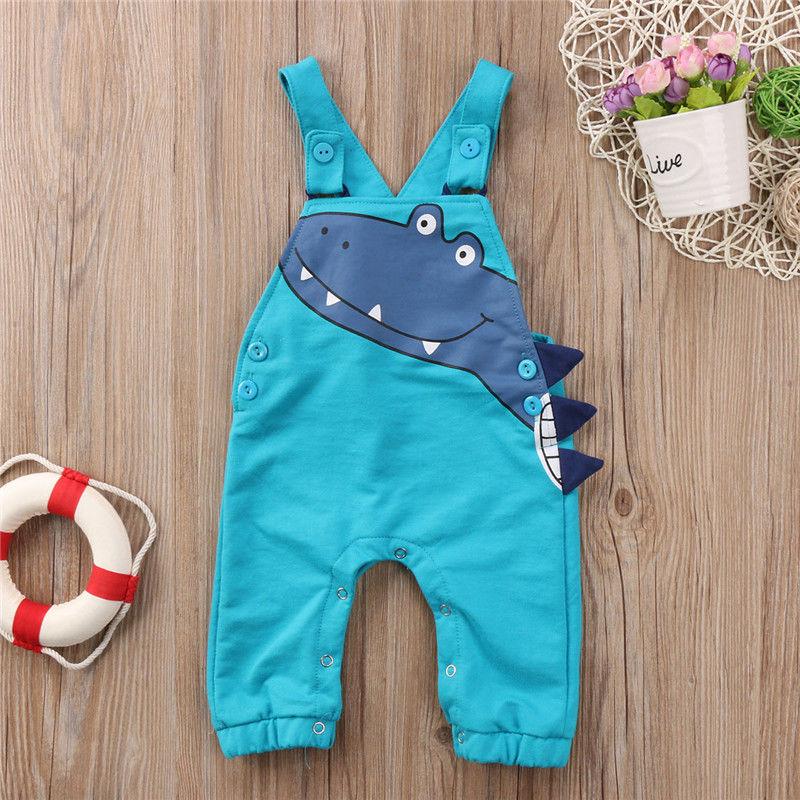 Pudcoco Newest Fashion Newborn Baby Boy Girl Clothes Cotton Dinosaur Strap Romper Jumpsuit Outfit Sunsuit