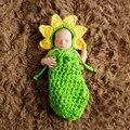 1 Conjunto Bebê Recém-nascido Crochet Knit Costume Fotografia Prop Chapéu do Girassol saco de Dormir