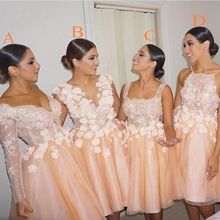 2016 CoralAppliques Cheap Bridesmaid Dresses Scoop Organza Knee-Length De Casamento Robe Demoiselle D'honneur Bridesmaid Dress