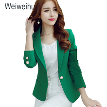 Women Blazers 2019 Green Color Long Sleeve Jackets Solid Single Button Coat Slim