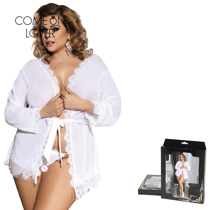 Comeonlover Pajama Sexy Plus Size High-end Packaging Lace Trim Robe Lingerie Sexy Clothes Women Nightie Sexy Nightwear RI80182 1