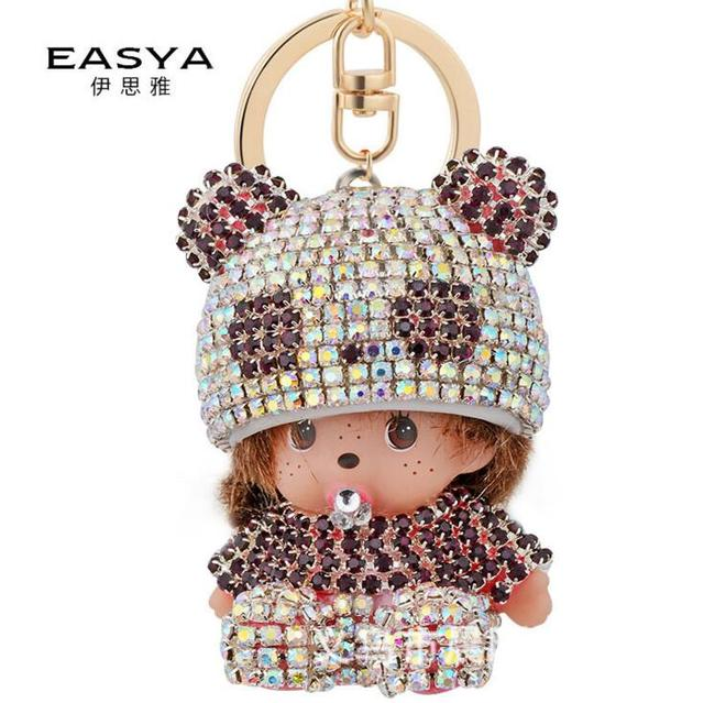 2016 new Monchichi keychain 13.5 cm real rabbit fur pom pom Hat Monchichi Dolls pompom Key ring lady bag car pendant wholesale
