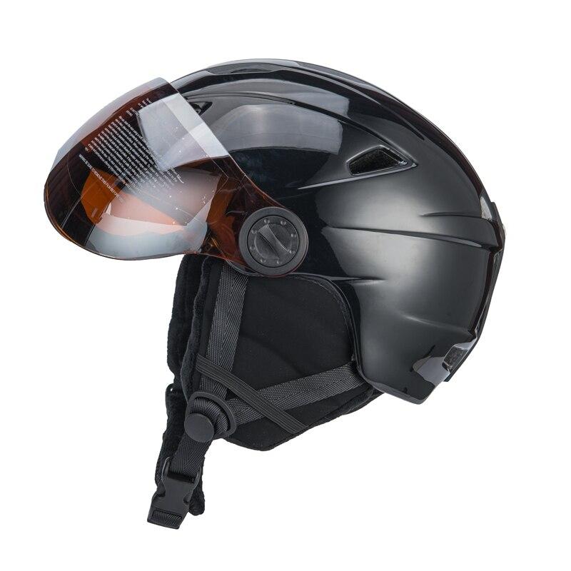 Qualité supérieure Intégralement casque de ski Avec Lunettes Demi-couvert casque de ski Lunettes CE Sports de Plein Air Snowboard Casque Noir - 4