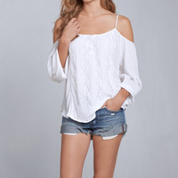 2017 New LASPERAL Tops Women Sexy Slash Neck Long Sleeve Off Shulder Lace White Blouse Ladies