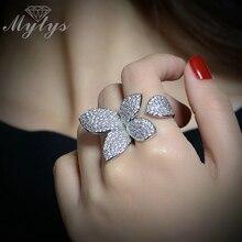 Mytys Бесплатная Размеры Открыть манжеты кольцо цветок Дизайн высокого уровня проложить Установка кристалл циркона Регулируемый Размеры кольцо Модные R1094