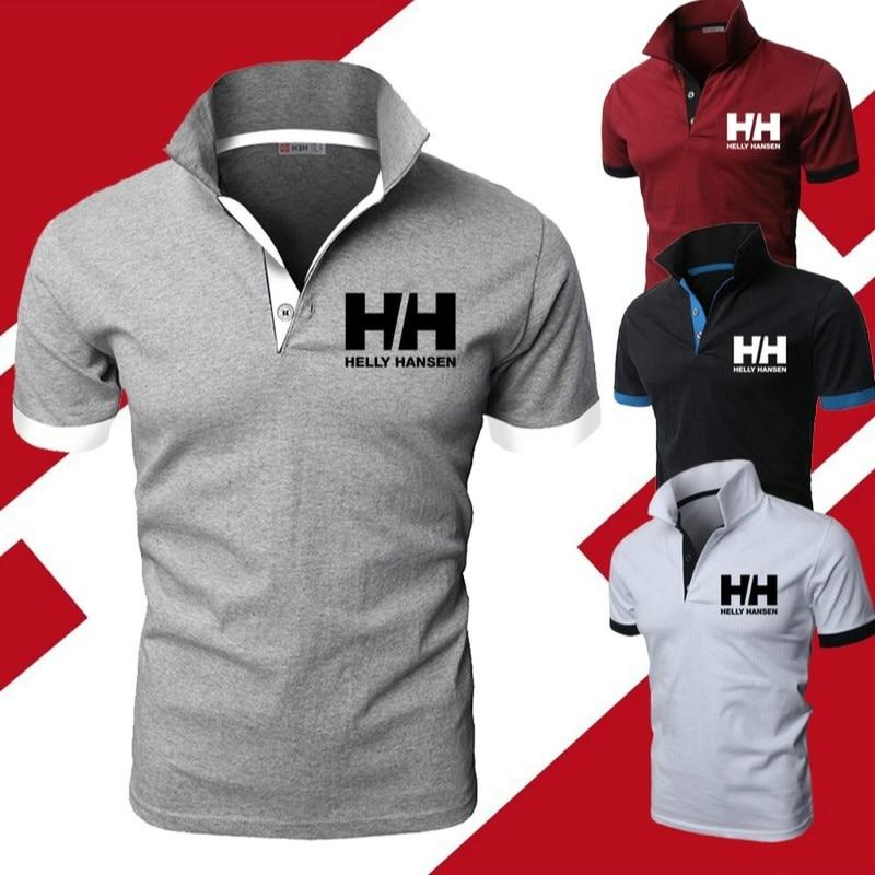 Men Summer Fashion Helly Hansen Cotton Lapel Collar Slim Fit   T     Shirts   Casual tshirt Turn-down Collar funny   t     shirts   casual