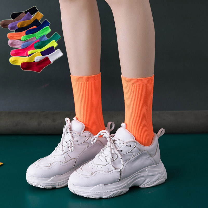 17 Colors Harajuku Neon Socks Women Hip Hop Streetwear Fluorescent Bright Candy Colors Cool Unny Socks Teen Girls Street Dance