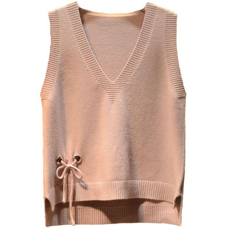 2019 Frühling Herbst Neue Mode Frauen Casual Bogen Pullover V-ausschnitt Ärmellose Feste Farbe Westen Pullover Lose Pullover Tops A21