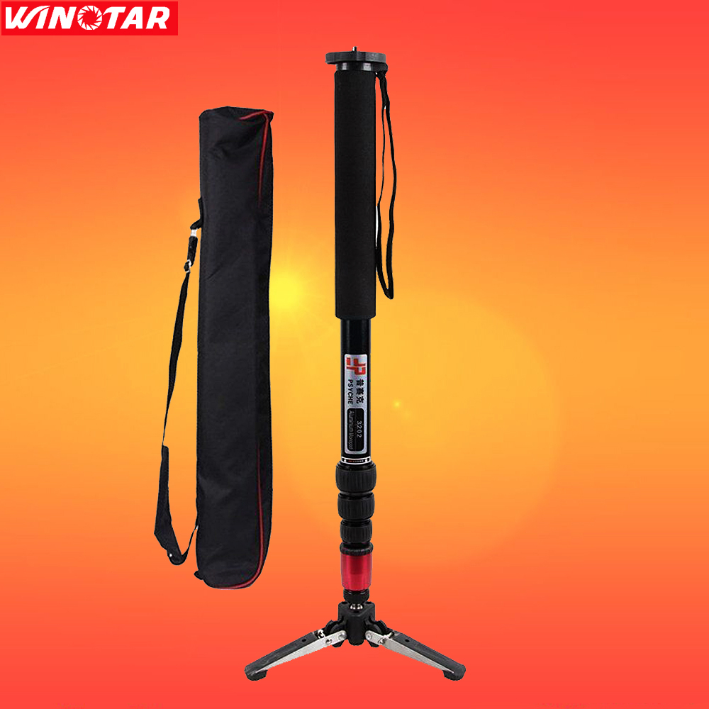 Pro Alumninum Alloy Camcorder Camera DSLR Unipod Monopod Flip Lock with 3 Legs Base Tripod For