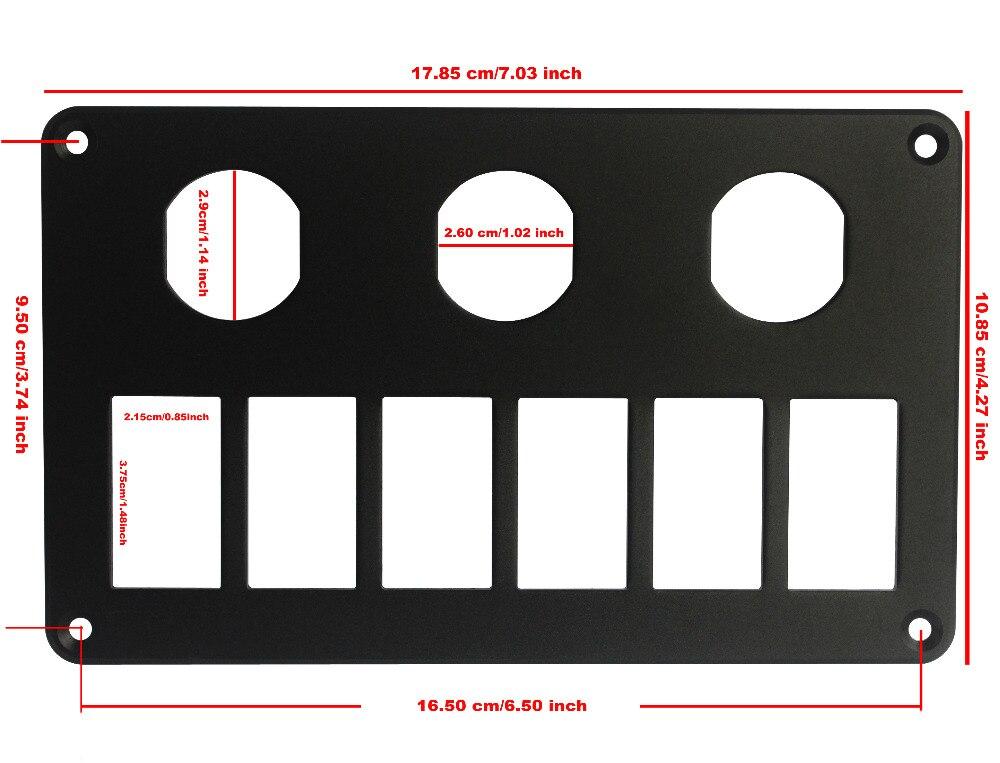 Aluminium 6 3 wege wippschalter Montieren Panel Mit 3 steckdosen ...