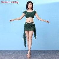 2018 New Arrival 2 pcs.Women Belly Dance Practice Suit Short Sleeves Short Skirt V Back Fashion Costume 4 Color M, L