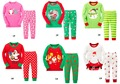 Дети рождество пижамы детская одежда мальчики девочки хлопок вершины + брюки 2 шт. пижамы деды морозы пижамы комплект 12 шт. = 6 компл.