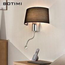 BOTIMI מודרני LED קיר אור עם בד אהיל שליד המיטה השינה Applique murale luminaire LED חם אור פמוט קיר