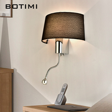 Современный светодиодный настенный светильник BOTIMI с тканевым абажуром для спальни, прикроватная аппликация, светодиодный светильник, теплый настенный светильник
