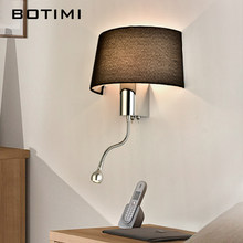 BOTIMI Modern LED Wall Light With Fabric Lampshade For Bedroom Bedside Applique murale luminaire LED Warm Light Wall Sconce(China)
