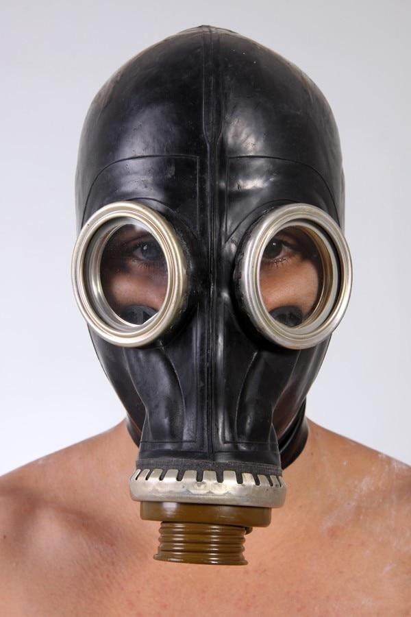 100% Natural Latex FULL RUBBER GASMASK Fetish Cosplay Suffocation Mask Head Hood
