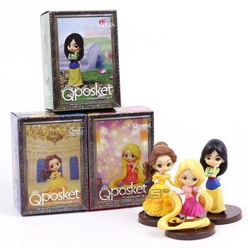 Q Posket Zeichen Schönheit und das Biest Mulan Rapunzel Mini PVC Figuren Spielzeug Prinzessinnen Puppen Geschenke für Mädchen 3 teile/satz