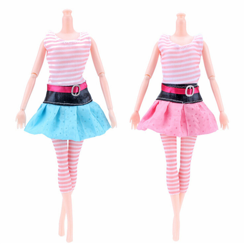 MIni Skirt Colourful Party Gown + Lace Stocking One Set Doll Dress For Barbie Doll Best Gift Doll Accessories Child Toy