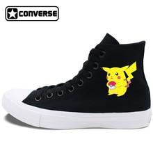 Sneakers High Top Converse Chuck Taylor II Pokemon Pikachu Skateboarding Shoes White Black Colors Can Choose