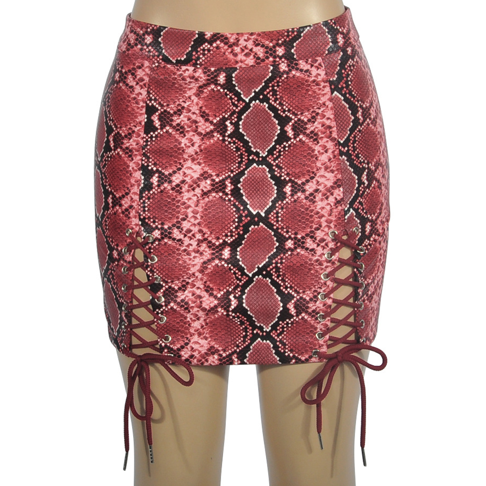 New Women's Half-length Skirt Sexy Strap Snake Pattern PU Skirt Print Red Brown Skirt