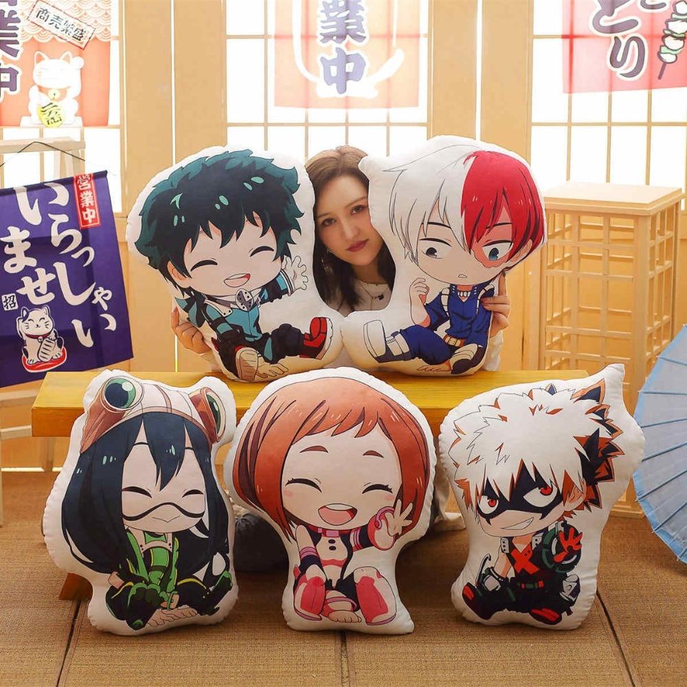 1pc 40/55cm Lovely Anime Bakugou Katsuki Todoroki Shoto Midoriya Izuku Bolster Plush Boku No Hero Academia Pillow Cartoon Toys