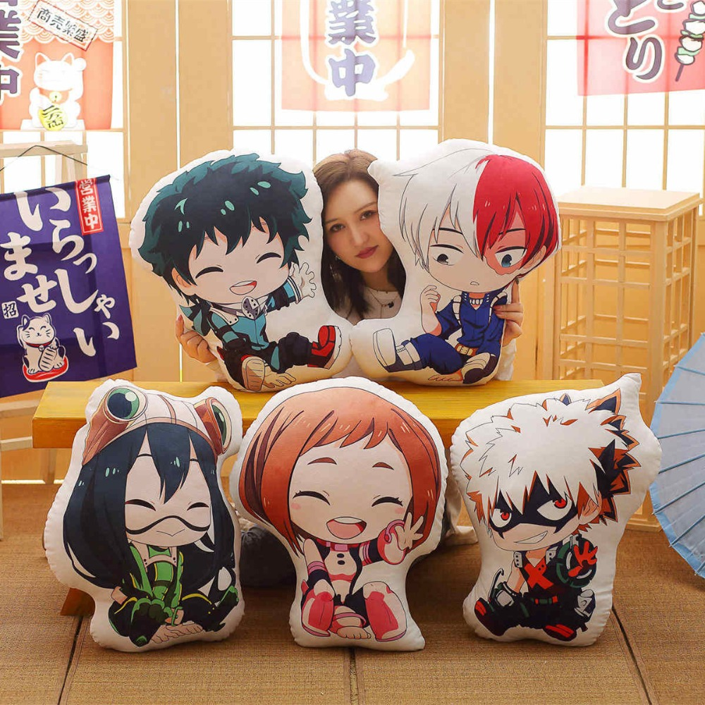 1pc 40/55cm Lovely Anime Bakugou Katsuki Todoroki Shoto Midoriya Izuku Bolster Plush Boku No Hero Academia Pillow Cartoon Toys