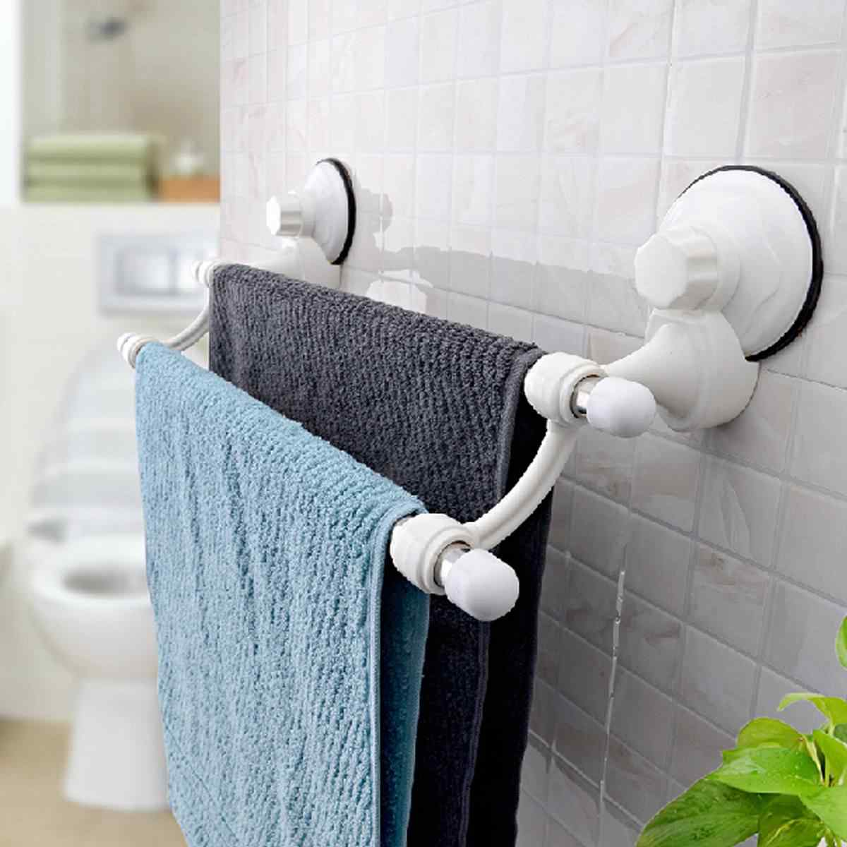 18.5 inch Double Bars Suction Cup Towels Rail Holder Storage Racks Wall Mounted Stainless Steel Bathroom Organizer Kitchen Hotel