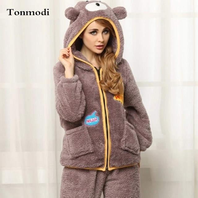 ba9550fb52 New Pajamas For Women Winter Pajamas Hooded Cardigan Flannel Sleepwear  Thickening Pajama Set Coral Fleece Pyjamas Women . 1 order. Anniversary Sale  ...