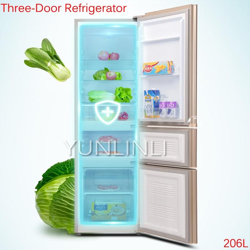 206L Three-Door Refrigerator Household Cold Storage & Freezing Refrigerator Direct Cooling Refrigerator BCD-206GX3S цена
