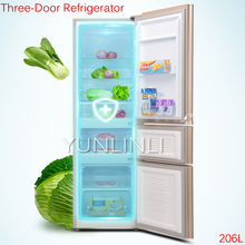 206L Three-Door Refrigerator Household Cold Storage & Freezing Refrigerator Direct Cooling Refrigerator BCD-206GX3S