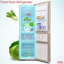 206L Three-Door Refrigerator Household Cold Storage & Freezing Refrigerator Direct Cooling Refrigerator BCD-206GX3S