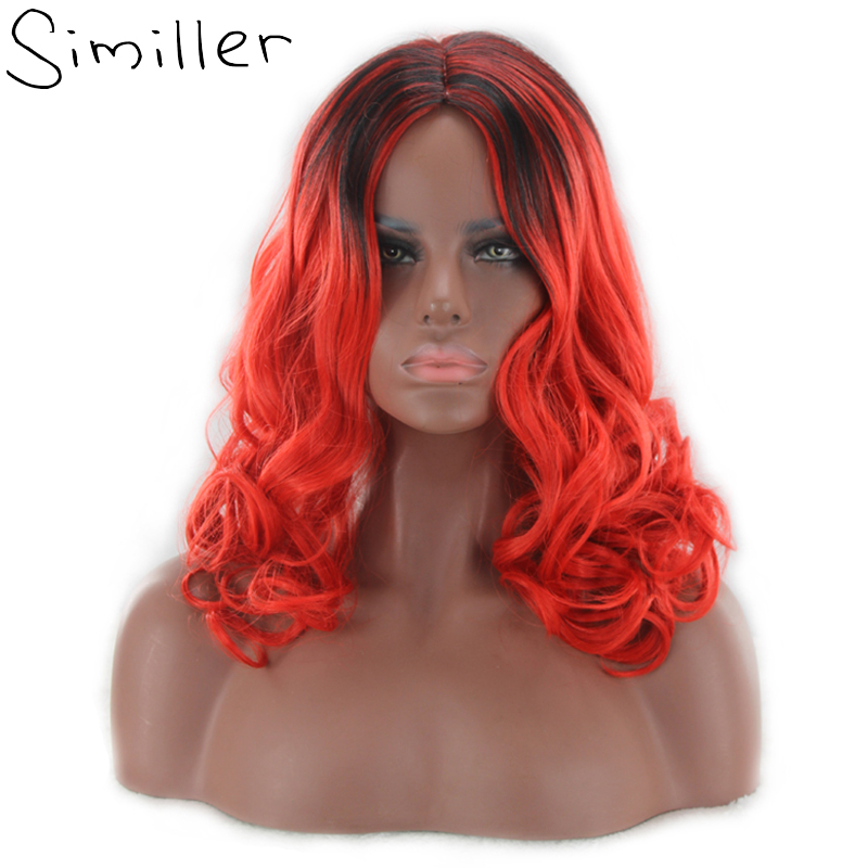 Similler Long Curly Wigs Blue Green Red Ombre Synthetic Hair For Black Women With Free Cap