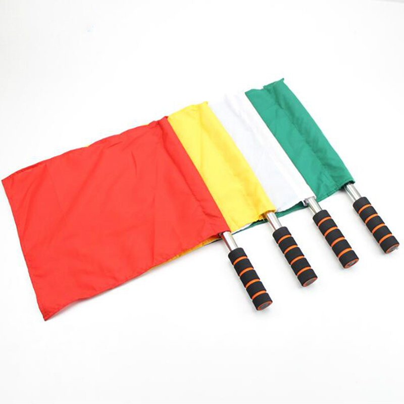 Track And Field Competition Referee Special Command Flag Stainless Steel Grip Command Soccer Referee Flag