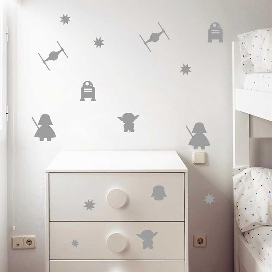 Cartoon מלחמת הכוכבים ויניל קיר מדבקות, מות כוכב דארת ויידר רובוט יודה קיר אמנות ויניל מדבקות לילדים חדר קישוט