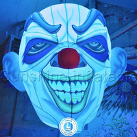 Indoor outdoor inflatable halloween party decoration inflatable mask/face with lights for decor